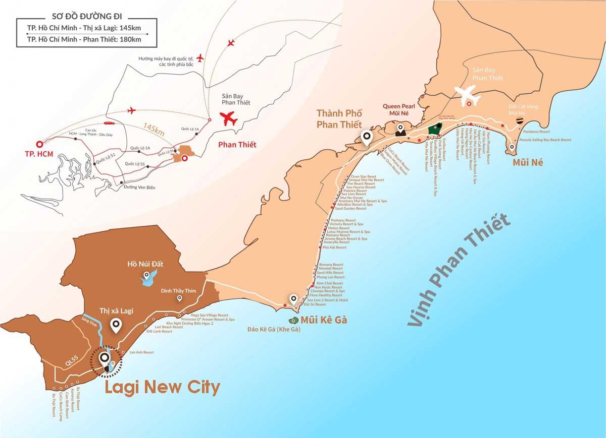 Vị trí liên kết vùng Dự án Phức hợp Đô thị Thương mại Dịch vụ & Du lịch Biển Lagi New City